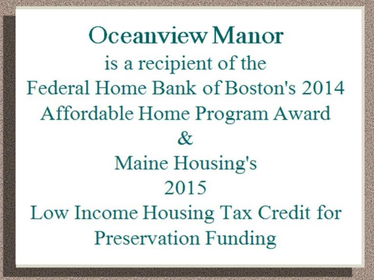 Oceanview Manor is the Recipient of the FHB of Boston's 2014 Affordable Home Program Award